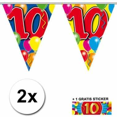 2 gekleurde vlaggenlijnen 10 jaar met sticker