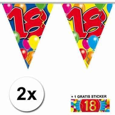 2 Gekleurde vlaggenlijnen 18 jaar met sticker