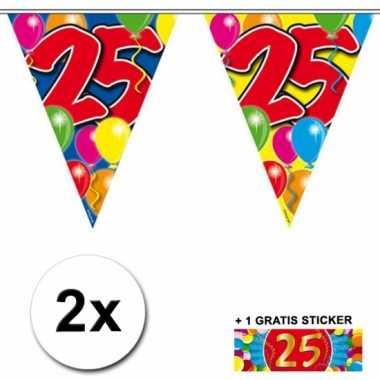 2 Gekleurde vlaggenlijnen 25 jaar met sticker