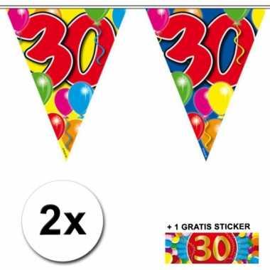 2 gekleurde vlaggenlijnen 30 jaar met sticker