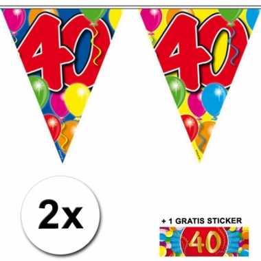 2 Gekleurde vlaggenlijnen 40 jaar met sticker