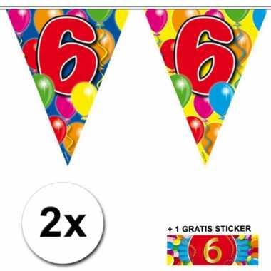 2 gekleurde vlaggenlijnen 6 jaar met sticker