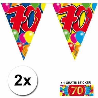 2 Gekleurde vlaggenlijnen 70 jaar met sticker
