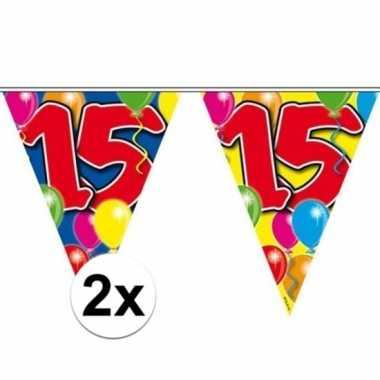 2x gekleurde vlaggenlijn 15 jaar 10 meter