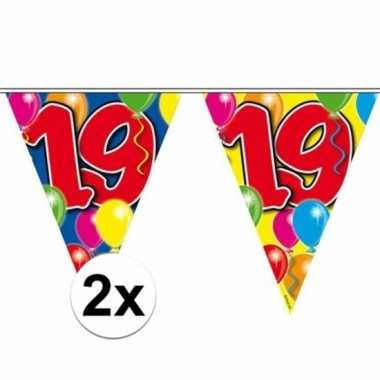 2x gekleurde vlaggenlijn 19 jaar 10 meter