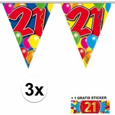 3 gekleurde slingers 21 jaar met sticker