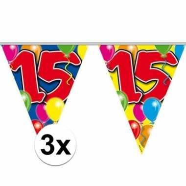 3x gekleurde vlaggenlijn 15 jaar 10 meter