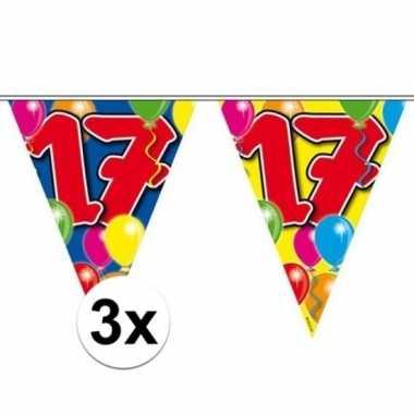 3x gekleurde vlaggenlijn 17 jaar 10 meter