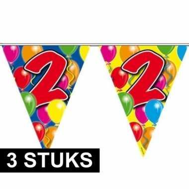 3x gekleurde vlaggenlijnen 2 jaar 10 meter
