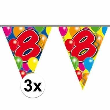 3x gekleurde vlaggenlijnen 8 jaar 10 meter