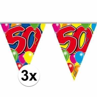 3x vlaggetjes lijn plastic 50 jaar 10 meter