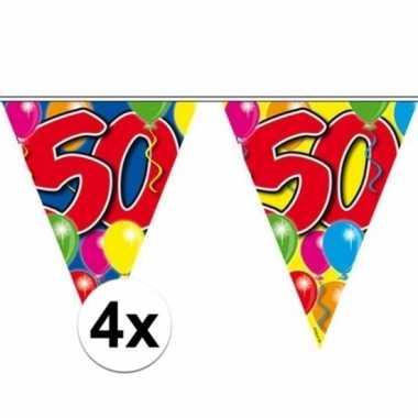 4x vlaggetjes lijn plastic 50 jaar 10 meter