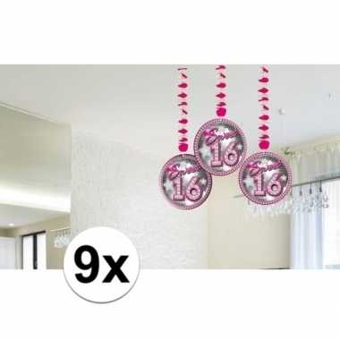9x sweet 16 leeftijd feest versiering rotorspiralen