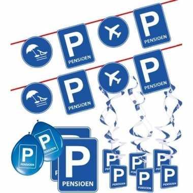 Pensioen/met de vut themafeest pakket m blauw/verkeersbord