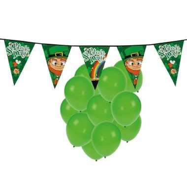 St. patricks day feestartikelen met ballonnen en slinger