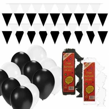 Zwart/witte feest versiering pakket huiskamer