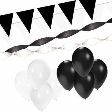 Zwart/witte versiering pakket xl