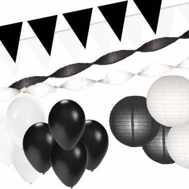 Zwart/witte versiering pakket xxl