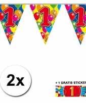 2 gekleurde vlaggenlijnen 1 jaar met sticker