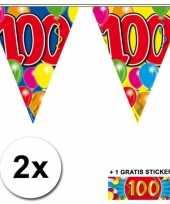2 gekleurde vlaggenlijnen 100 jaar met sticker