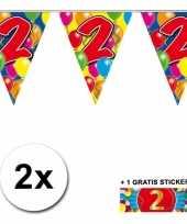 2 gekleurde vlaggenlijnen 2 jaar met sticker
