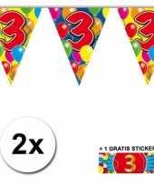 2 gekleurde vlaggenlijnen 3 jaar met sticker