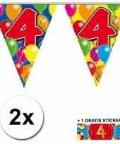 2 gekleurde vlaggenlijnen 4 jaar met sticker