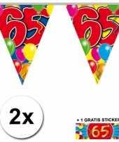 2 gekleurde vlaggenlijnen 65 jaar met sticker