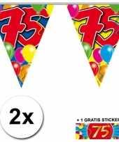 2 gekleurde vlaggenlijnen 75 jaar met sticker