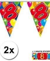 2 gekleurde vlaggenlijnen 8 jaar met sticker