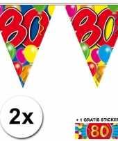 2 gekleurde vlaggenlijnen 80 jaar met sticker