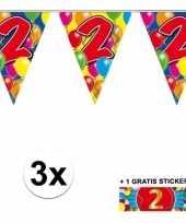 3 gekleurde slingers 2 jaar met sticker
