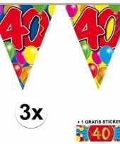 3 gekleurde slingers 40 jaar met sticker