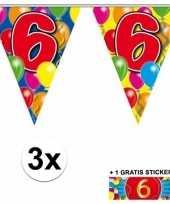 3 gekleurde slingers 6 jaar met sticker