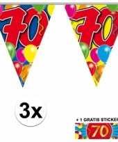 3 gekleurde slingers 70 jaar met sticker