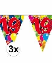 3x gekleurde vlaggenlijn 19 jaar 10 meter