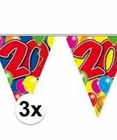 3x gekleurde vlaggenlijn 20 jaar 10 meter