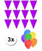 Paarse vlaggentjes slinger met 6 gratis ballonnen