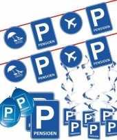 Pensioen met de vut themafeest pakket m blauw verkeersbord