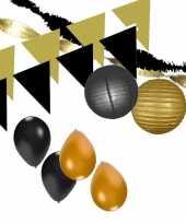 Zwart gouden feest versiering pakket xxl